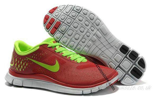 Cheap Nike Free 4 V2 Men's Running Shoes University Red/Volt RS-071 $ 49.82