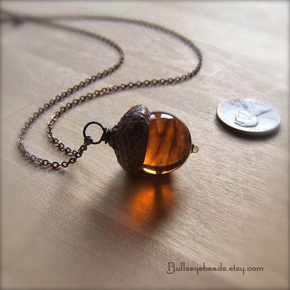 This is the Glass Acorn Necklace that I fell in love with and which is now around my neck every day!