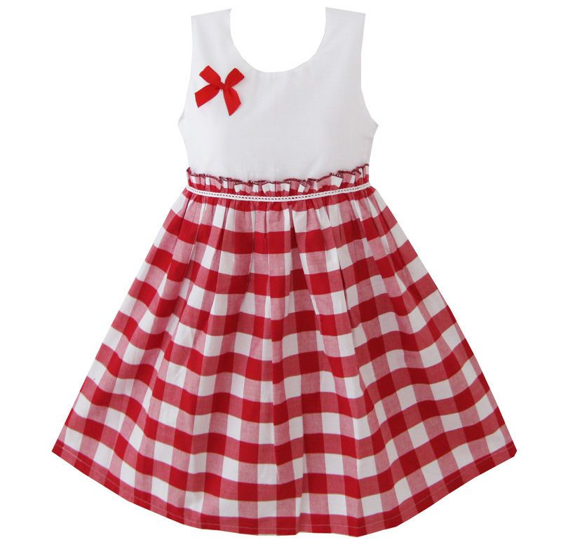 Sunny Fashion Girld Dress Red Tartan Sundress Kids Clothing Size 4 5 ...