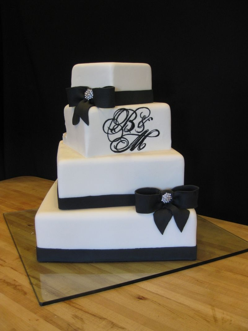 square black and white wedding cakes pictures%0A offset square wedding cake with monogram  fondant covered cake with black  fondant ribbon and bows  The monogram was painted on with black food  coloring