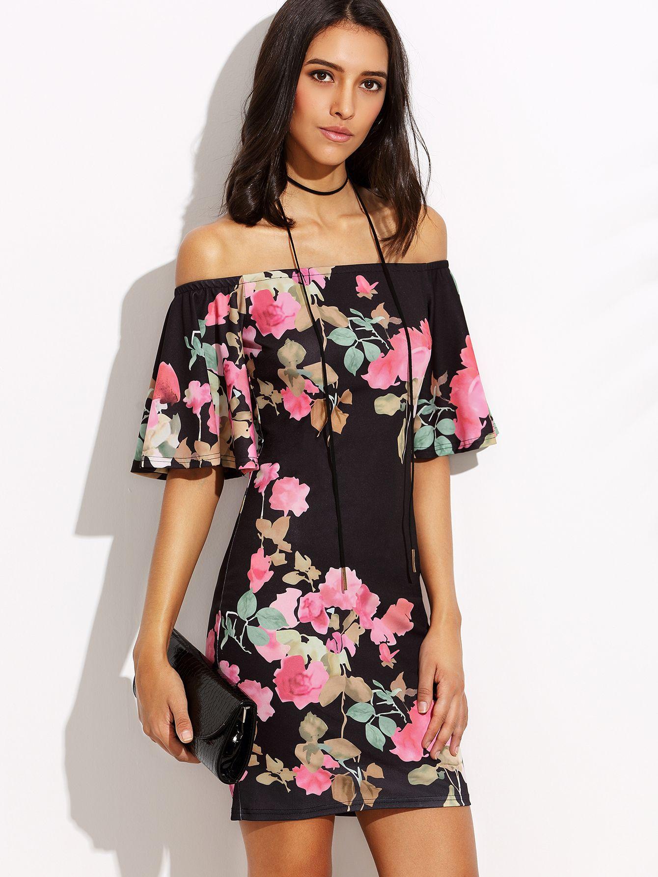 Vestido floral hombro al aire entallado -Spanish SheIn(Sheinside ... c5a5a5ce5684