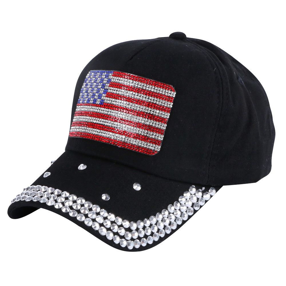 new trendy girl boy cap hat crystal rhinestone luxury bling usa flag style  sports snapback hats 39ad4cd6d7c