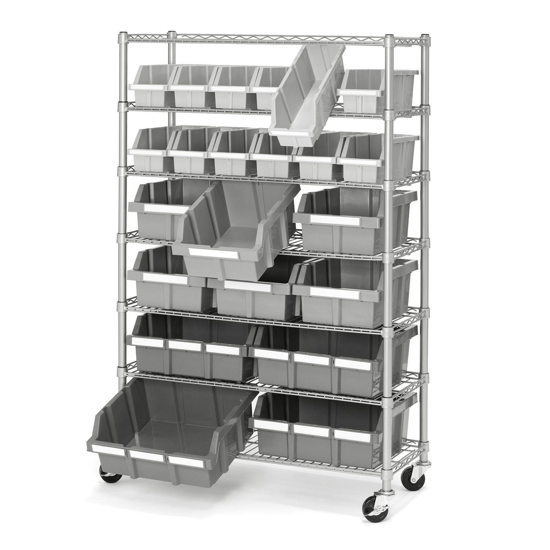 Seville Classics Commercial Bin Rack w/ Wheels - 22 Bins | Products ...