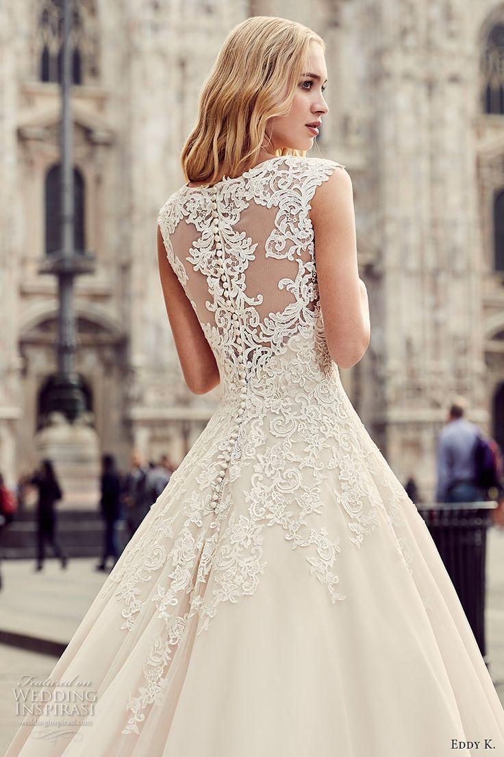 Eddy K Milano Bridal 2017 Cap Sleeves Scoop Neckline Heavily Embellished Bodice Hem A Line Romantic Ball Gown Wedding Dress Long Train Lace Back