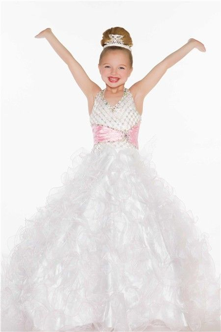 Ball Gown Halter Long White Pink Tulle Beaded Little Girl Prom Dress ...