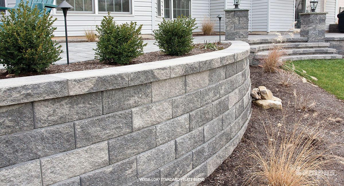 Versa Lok Standard Slate Blend Natural Stone Retaining Wall Available At Landscape Stone Supply Patio Stones Concrete Patio Makeover Vertical Patio Garden