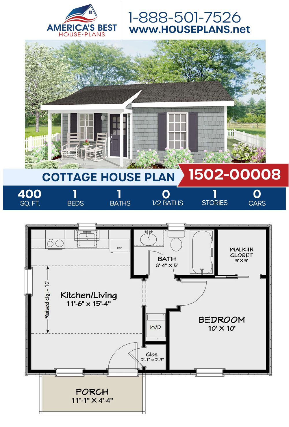 House Plan 1502 00008 Cottage Plan 400 Square Feet 1 Bedroom 1 Bathroom Guest House Plans Cottage Plan Cottage House Plans