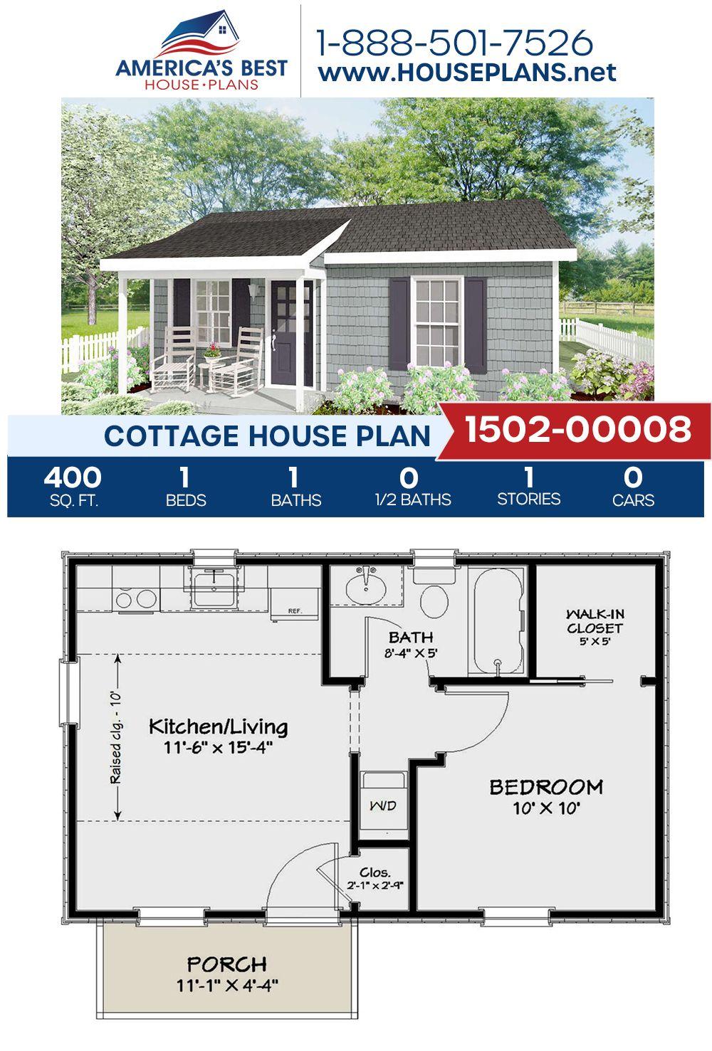 House Plan 1502 00008 Cottage Plan 400 Square Feet 1 Bedroom 1 Bathroom Guest House Plans Cottage House Plans Cottage Plan