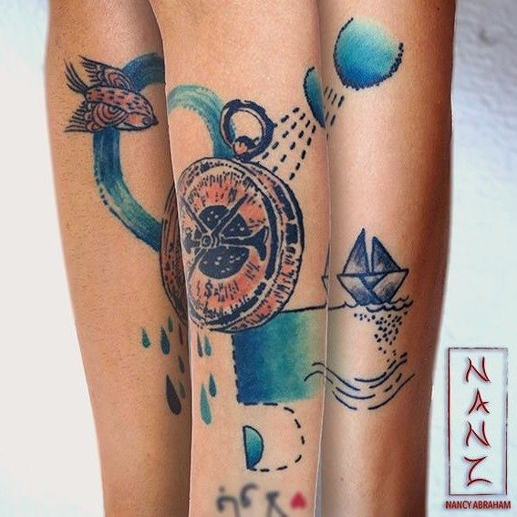 My (almost) hidden passion for ink — nancyabrahamtattoos13:   Water Compass by Nancy...