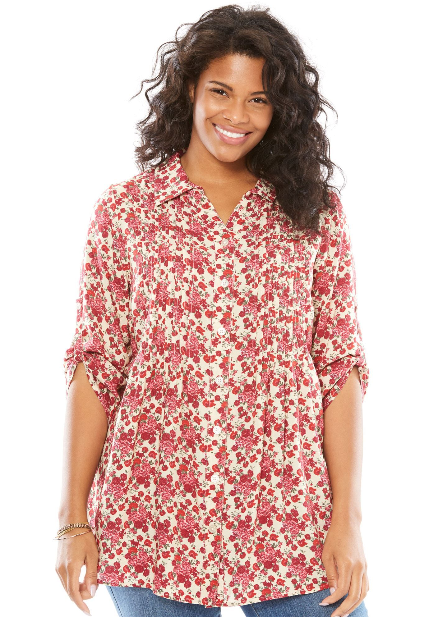 Tunic top with button-tab convertible sleeves - Women\'s Plus ...