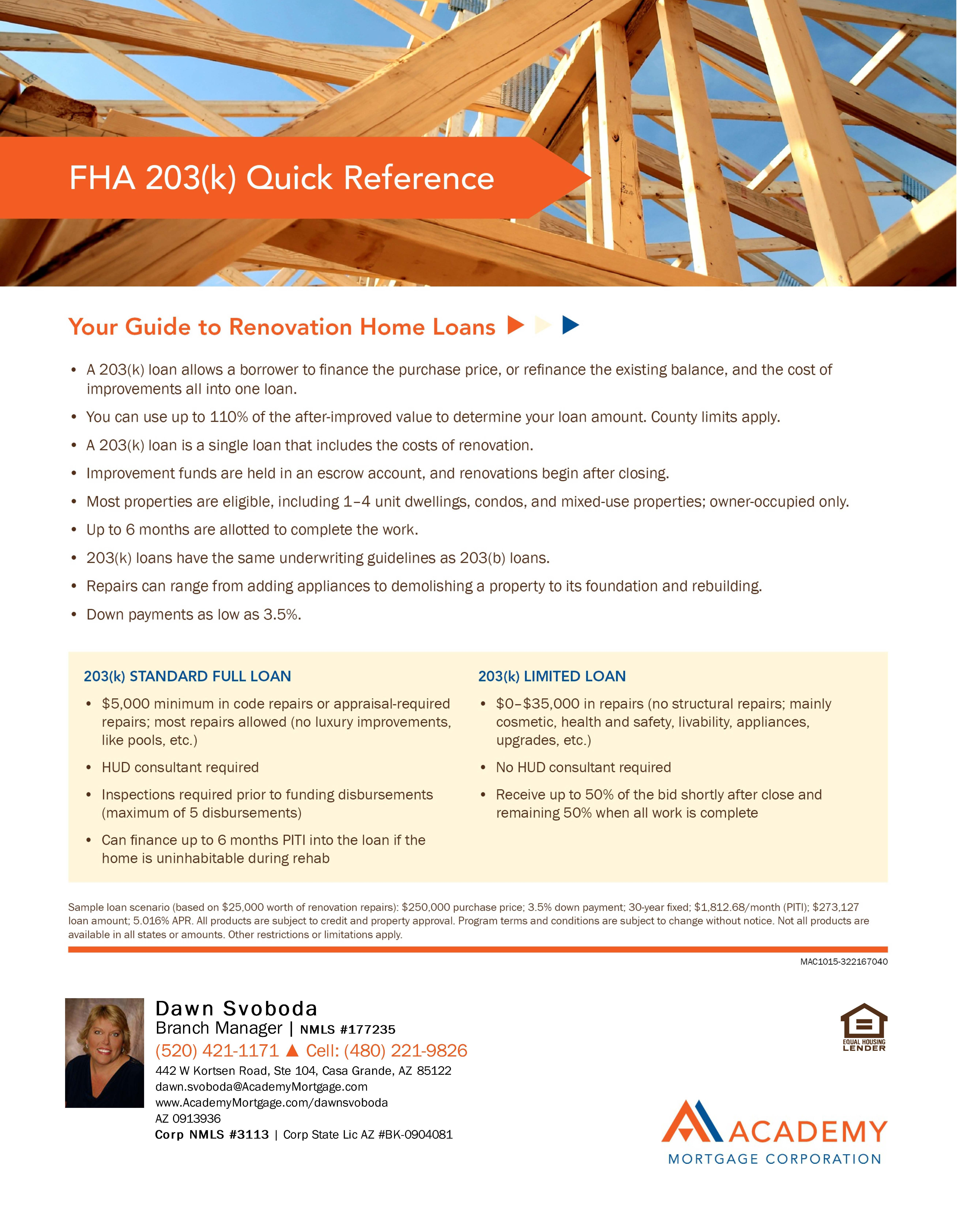 Fha 203k Quick Reference Home Renovation Loan Home Equity Line Home Equity Loan