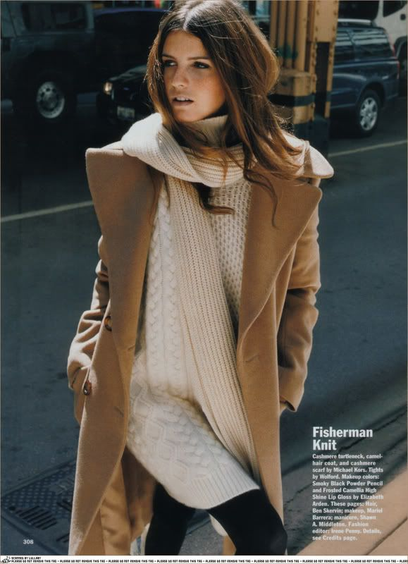 Camel coat and knit sweater. Love this winter styling.