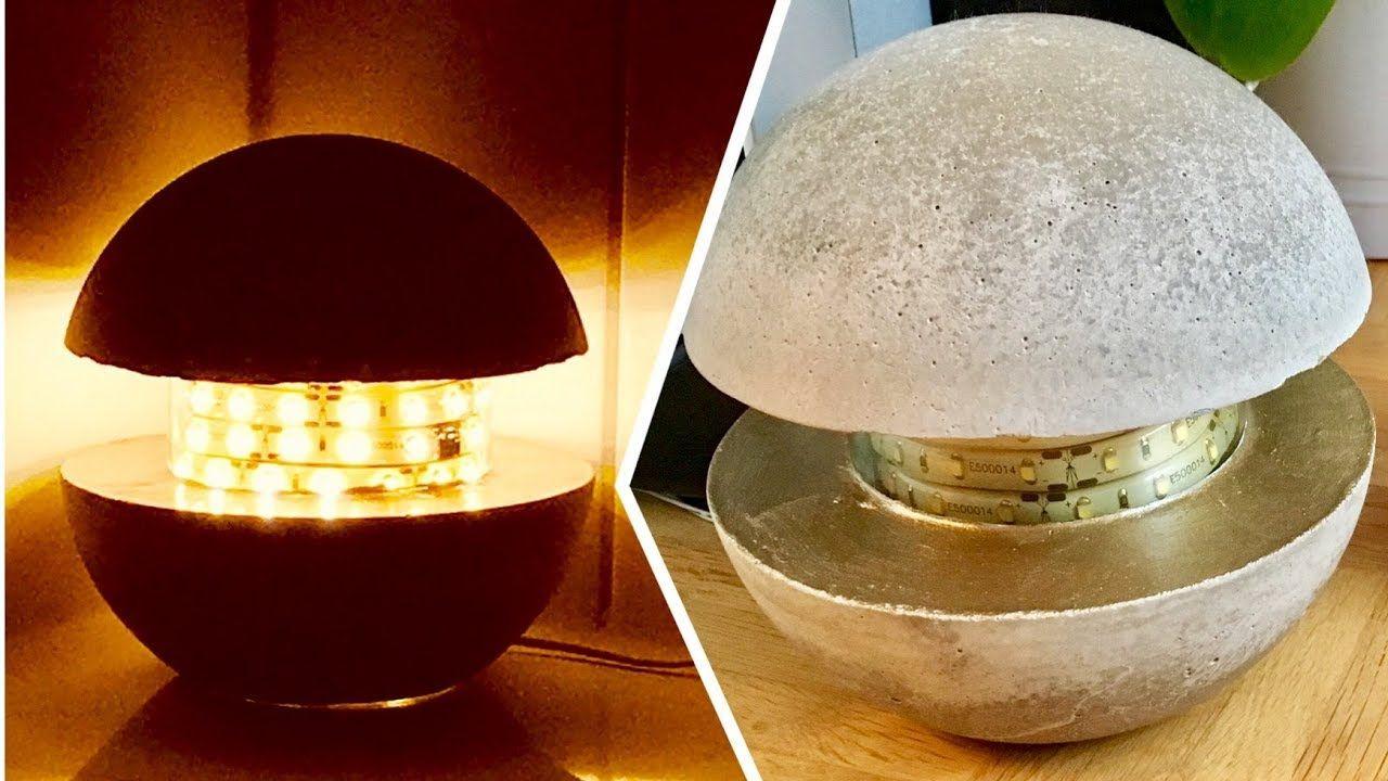 Betonlampe - DIY - Lampe aus Beton selber machen 16 cm lik halb ...
