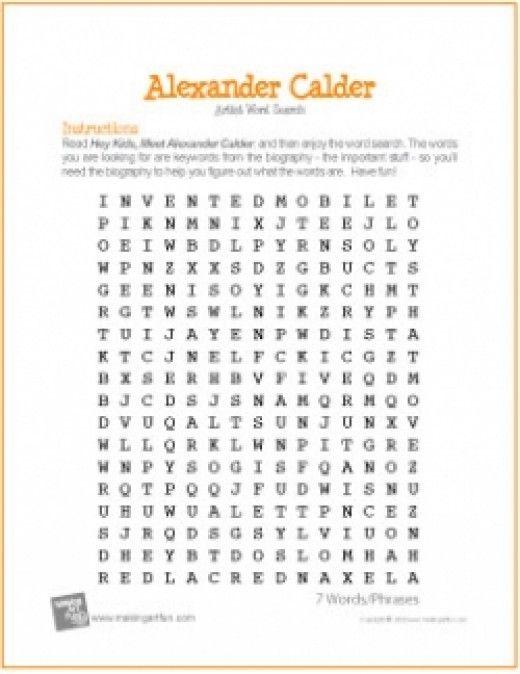 Alexander Calder For Kids Art Worksheets Art Handouts Art