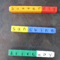 write compound words on unifix cubes and then students match to make words. use with recording sheet