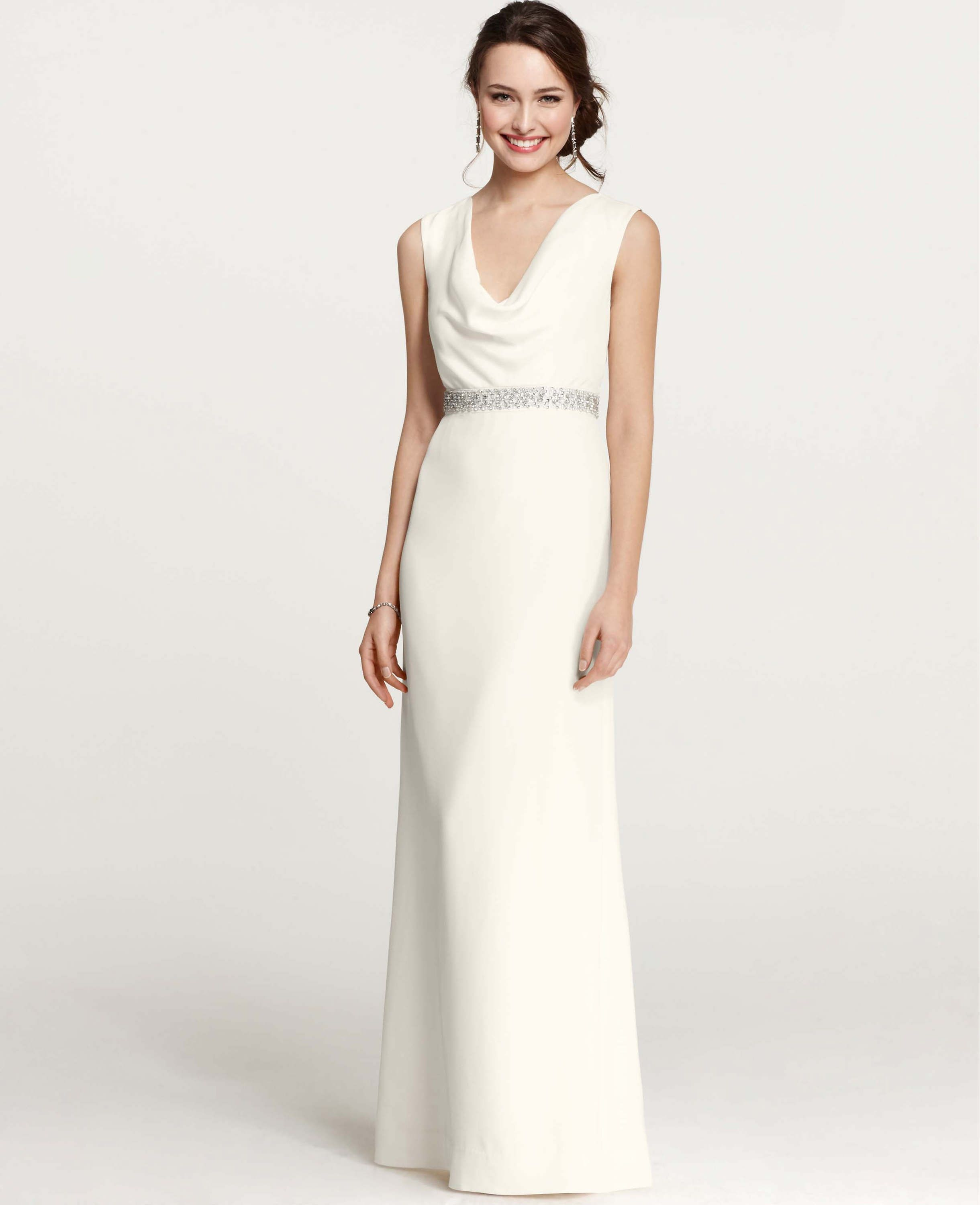 Mya Cowl Neck Wedding Dress | Ann Taylor | Dress/Veil | Pinterest