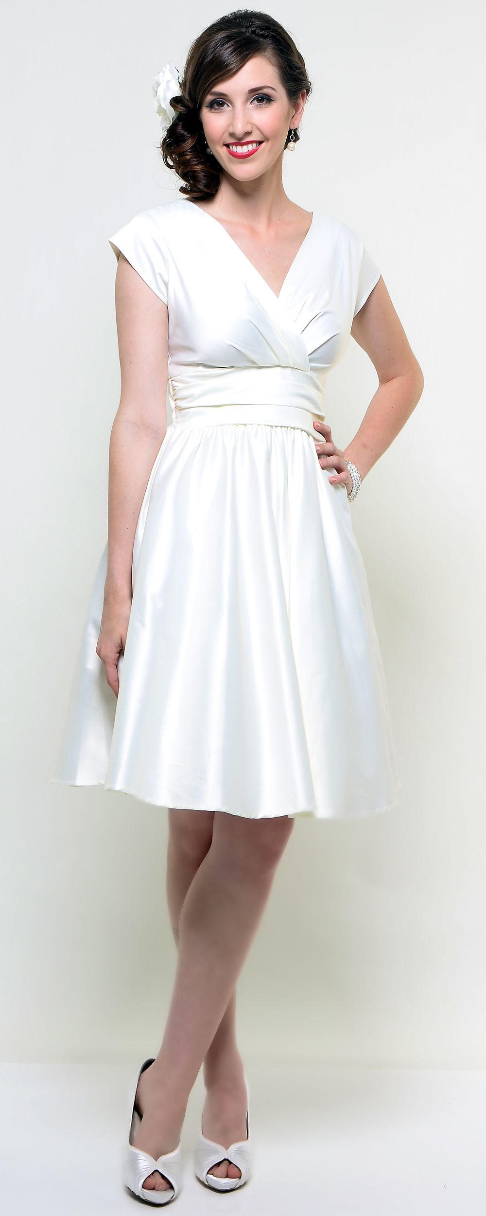 Cream cap sleeve swing kristy dress unique vintage homecoming