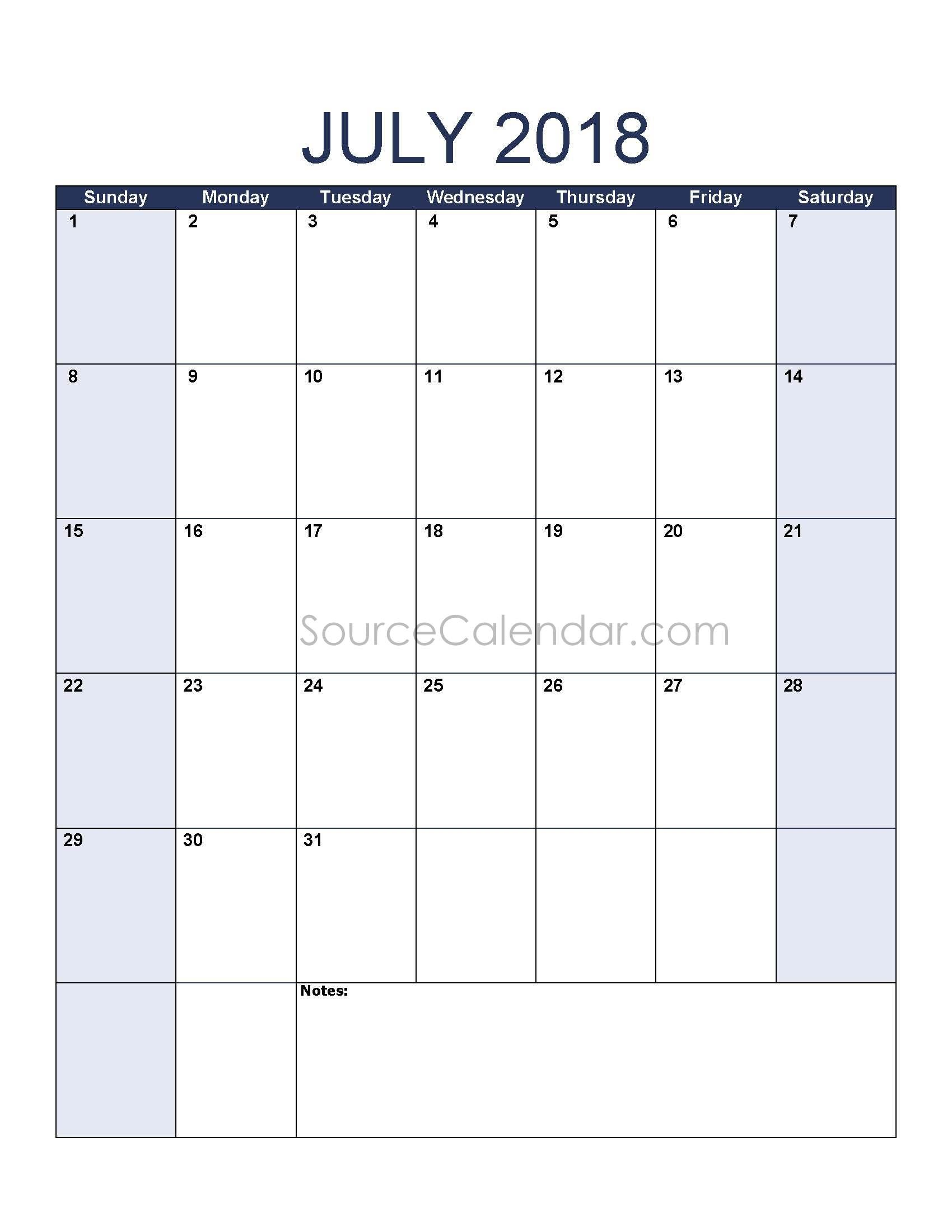 July 2018 Calendars for Word, Excel & PDF July 2018 Calendars for ...