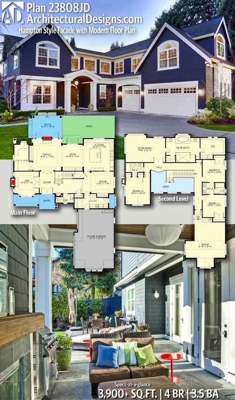 Plan 23808jd Hampton Style Facade With Modern Floor Plan In 2021 Architectural Design House Plans Modern Floor Plans Dream House Plans