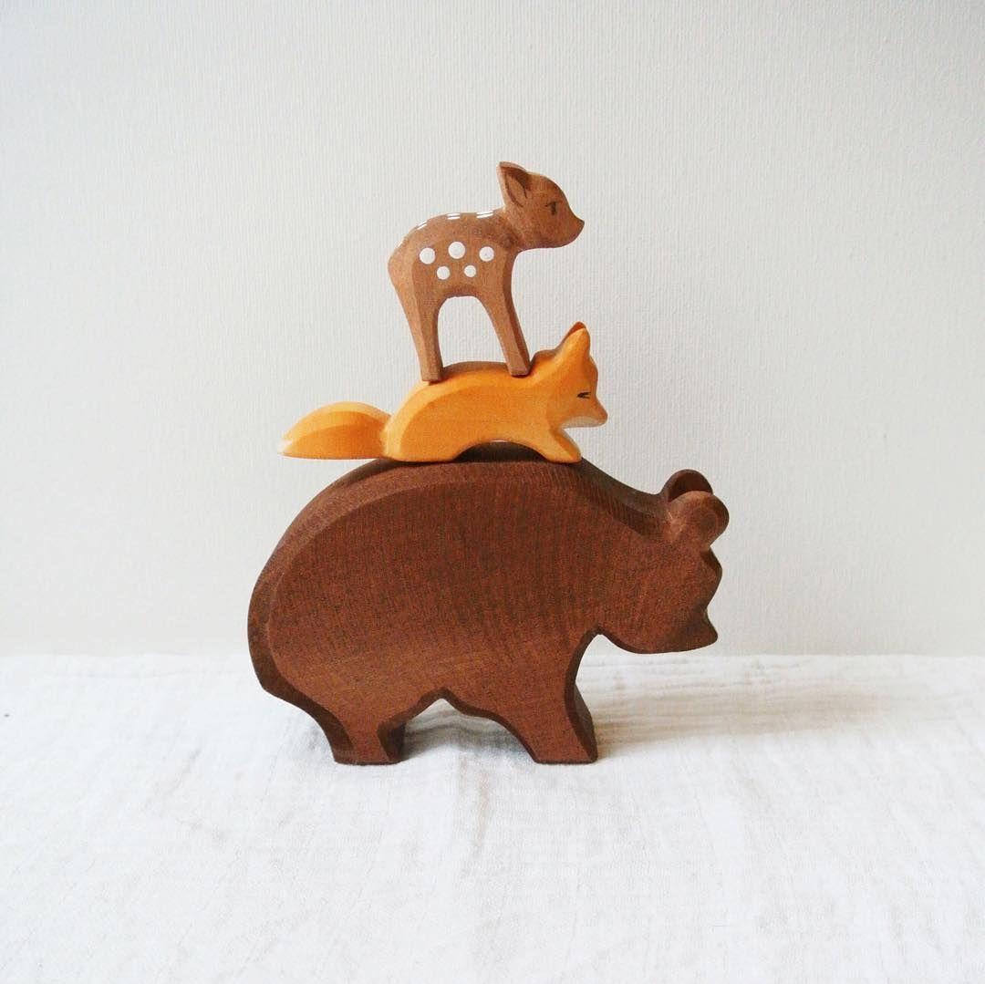 Ostheimer wooden toys: a big handmade wooden bear, handpainted fox and little deer.