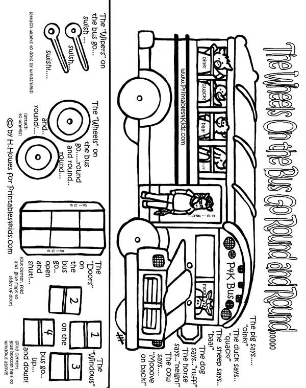 farmer in the dell coloring pages | Printable Wheels on the Bus Back to School Preschool ...