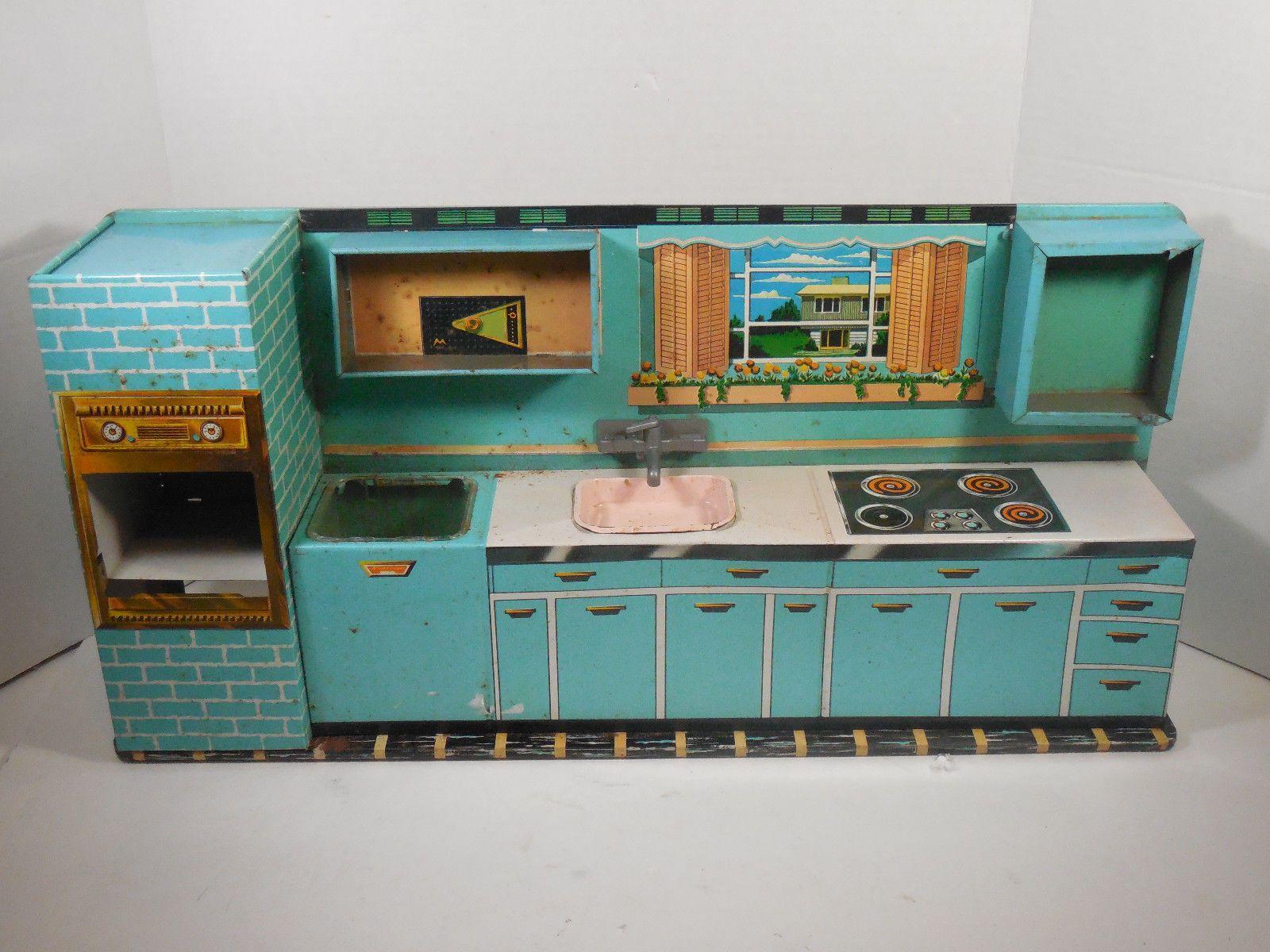 Vintage Superior Toy T Cohn Child Metal Tin Kitchen Retro Decor Toy ...