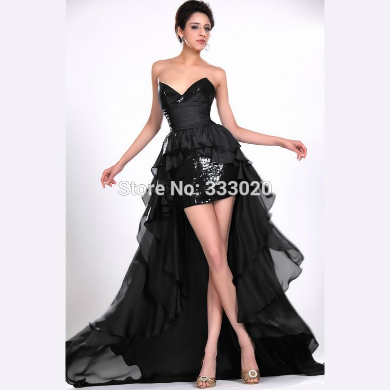 Black Chiffon Sequined Sparkly High Low Prom Dresses Beyonce ...