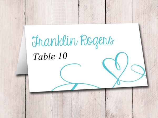 Heart Wedding Place Card Template Download  Escort Card Love