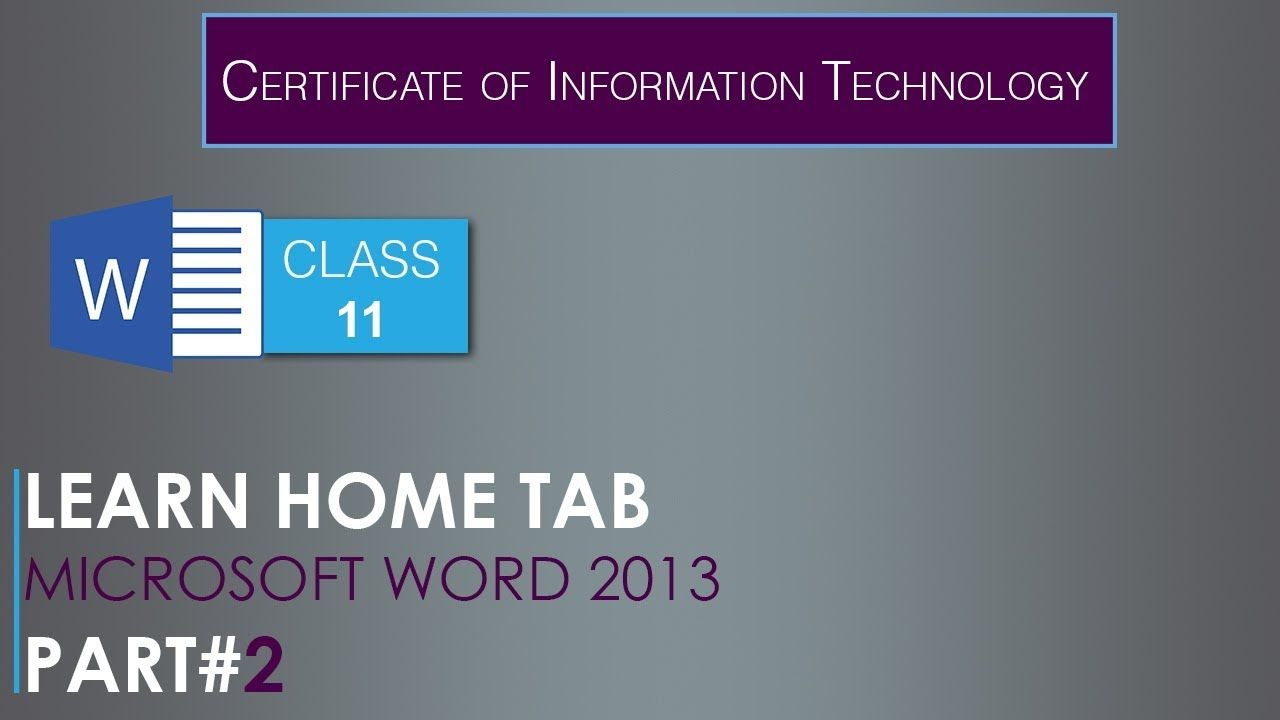 MS Word Home Tab Part2 Class11 C.I.T Course in Urdu