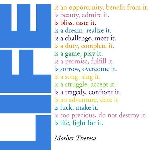 Mother Theresa Life Is An Opportunity Benefit From It Is