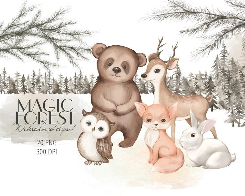 Magic Deer PNG Watercolor Forest Cute Little Deer Clipart Children Printables Sublimation Graphics Planner Stickers Digital Download