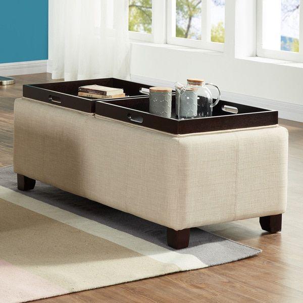 Beige Fabric Double Tray Storage Ottoman