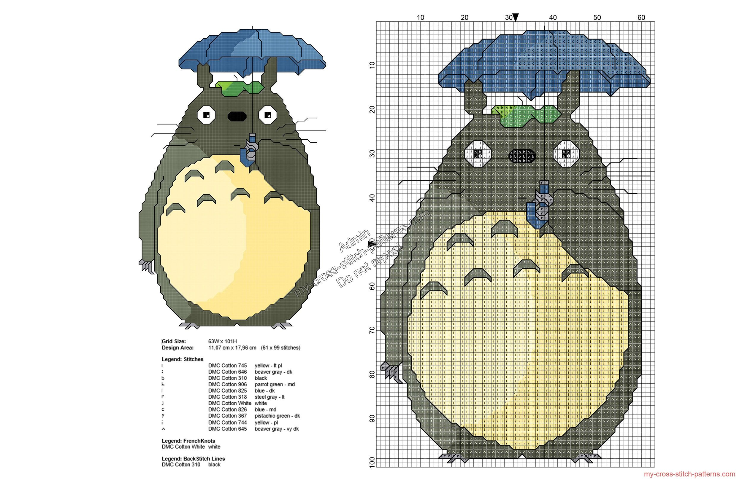 My Neighbor Totoro free cross stitch pattern 61x99 | Punto de Cruz ...