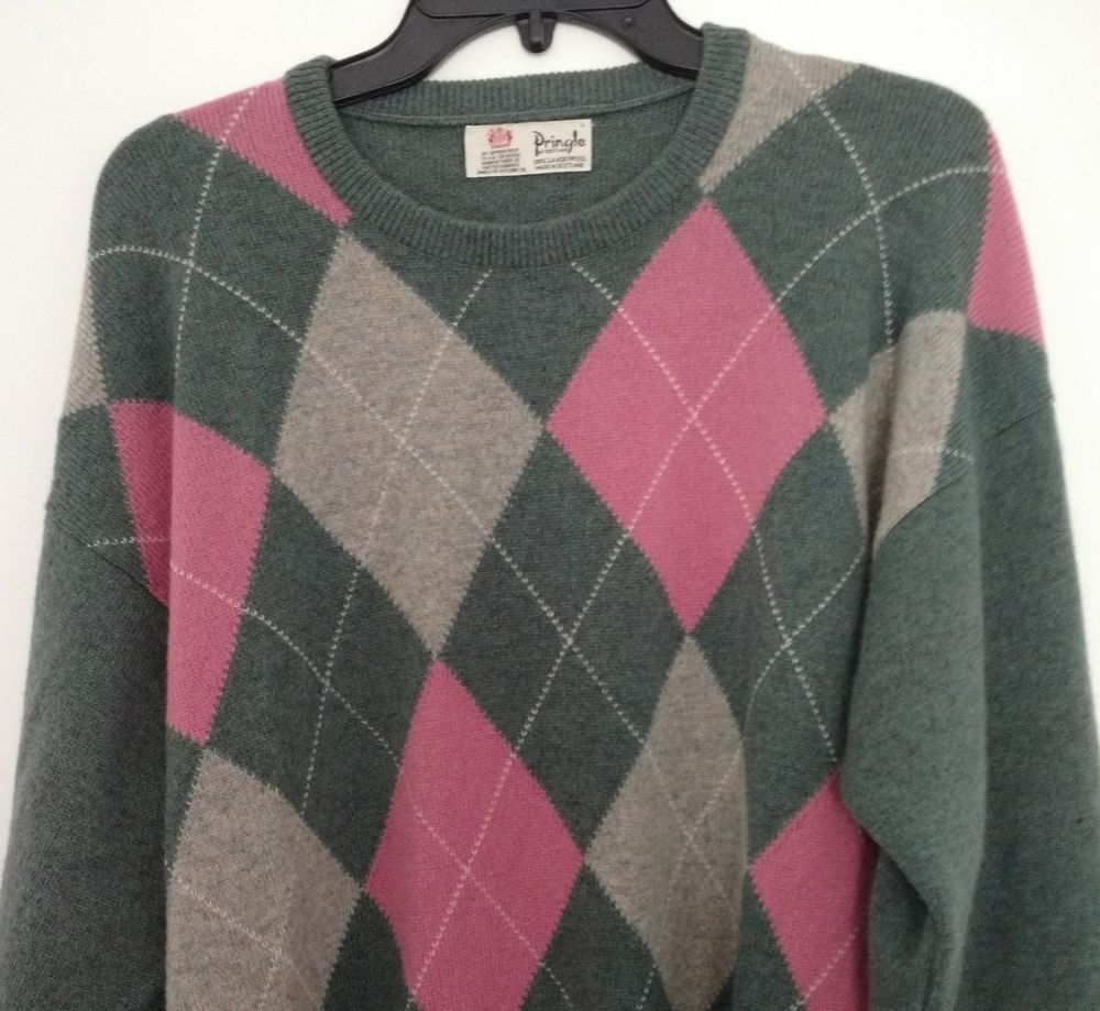 7fc7c49650 Pringle of Scotland Mens 100% Lambswool Argyle Sweater Gray L Pink  Conservative  PringleofScotland  Crewneck