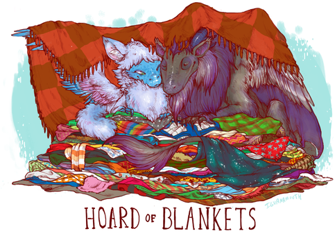 dragon hoard of blankets by iguanamouth