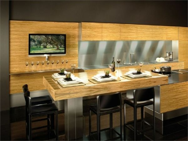 helles Holz Theke Barstühle Gestaltungsidee Küche Pinterest Bar
