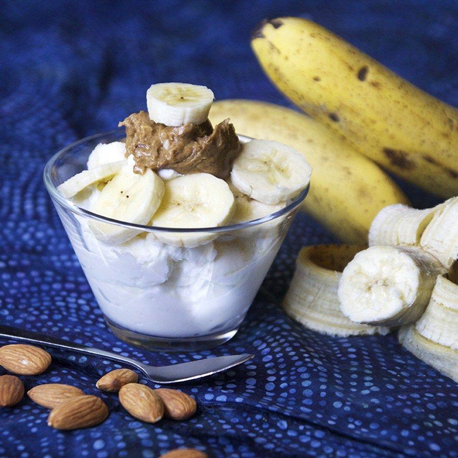 Banana Almond Crunch Greek Yogurt: 1 Cup 0% Plain Greek Yogurt (I use Fage  brand) 1 Tbsp. Crunchy Almond Butter (I use MaraNatha brand) 1/2 Medium  Banana, ...