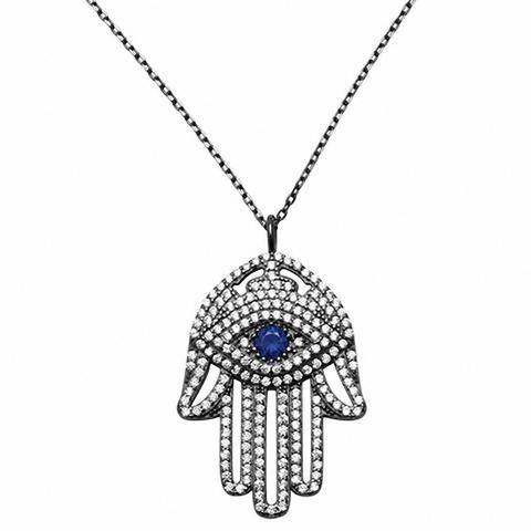 Hamsa hand of god evil eye 18 necklace pendant round simulated buy hamsa hand of god evil eye 18 necklace pendant at wholesale price diamond aloadofball Choice Image