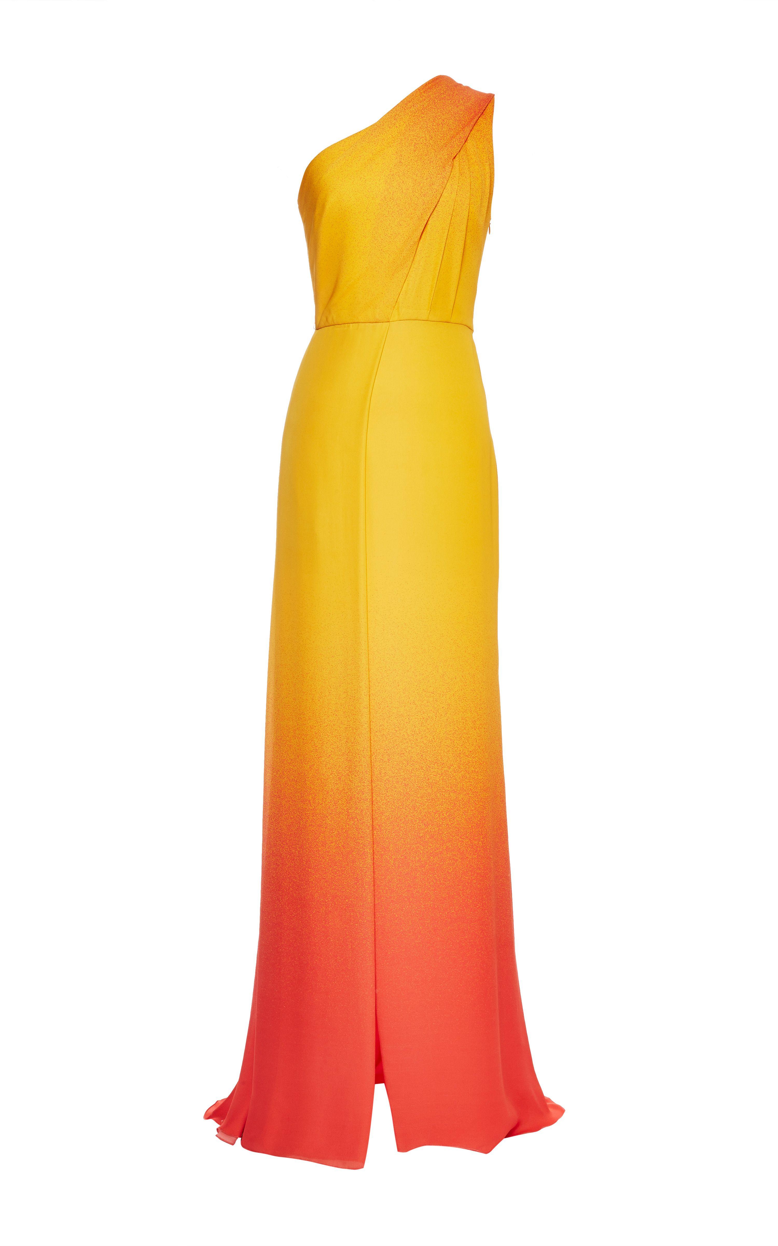 Elie saab orange degrade double silk georgette dress fashion lust