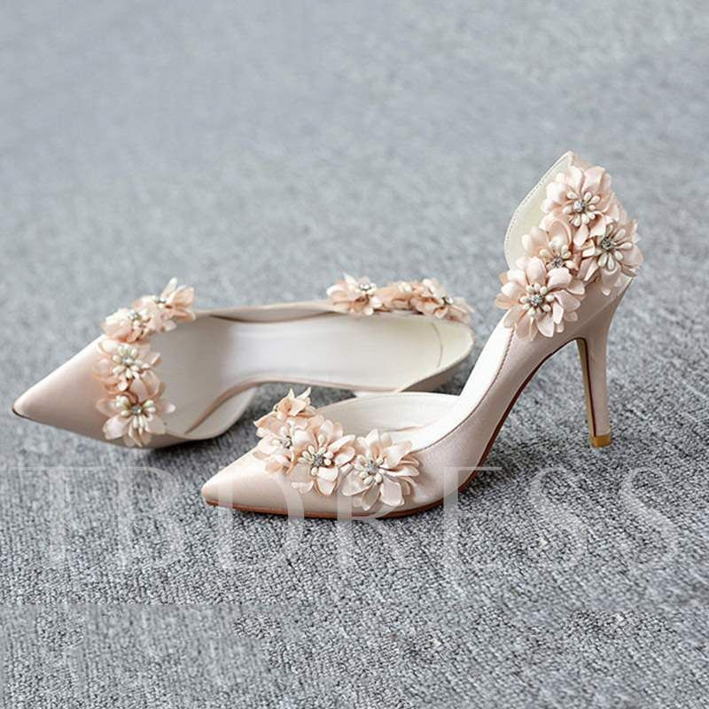 a9acb15fb8 3D Floral Stiletto Heel Pointed Toe Slip-On Women's Wedding Shoes in ...