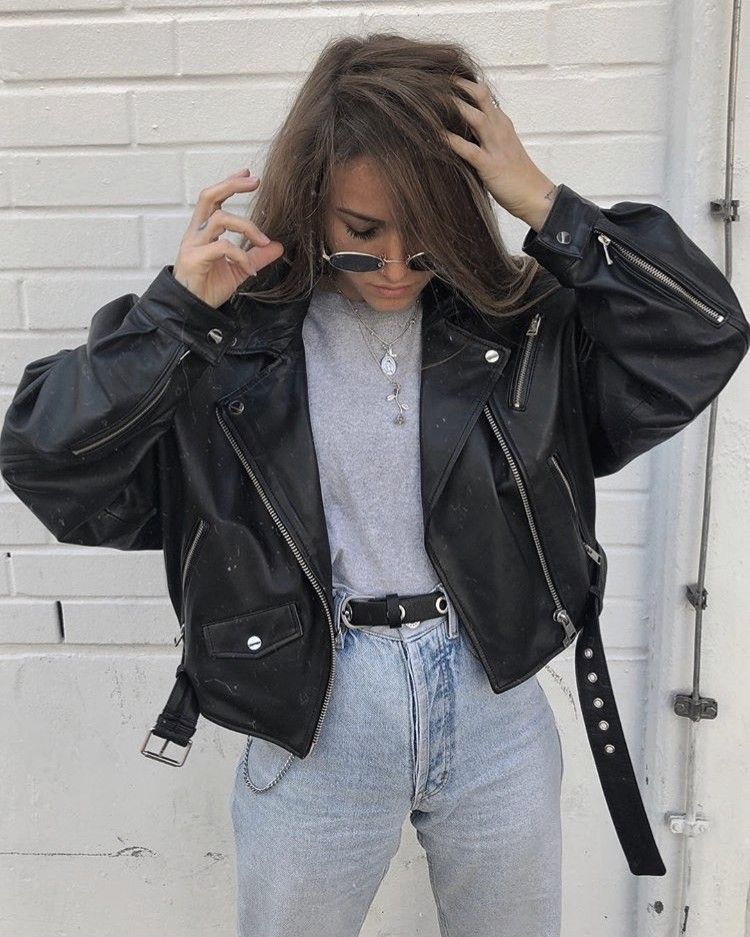 @minnahigh in our DYLAN Biker Jacket #leatherjacketoutfit