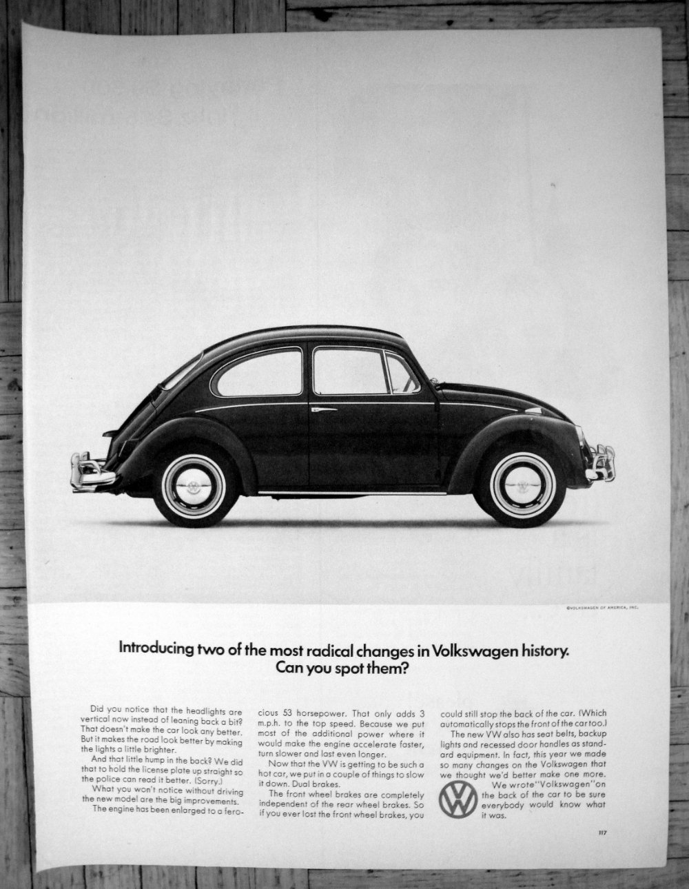 1966 Vw Beetle Bug 2 Radical Changes Volkswagen Original 13 5 10 5 Magazine Ad Vintage Vw Vw Beetle Classic Vintage Vw Bus