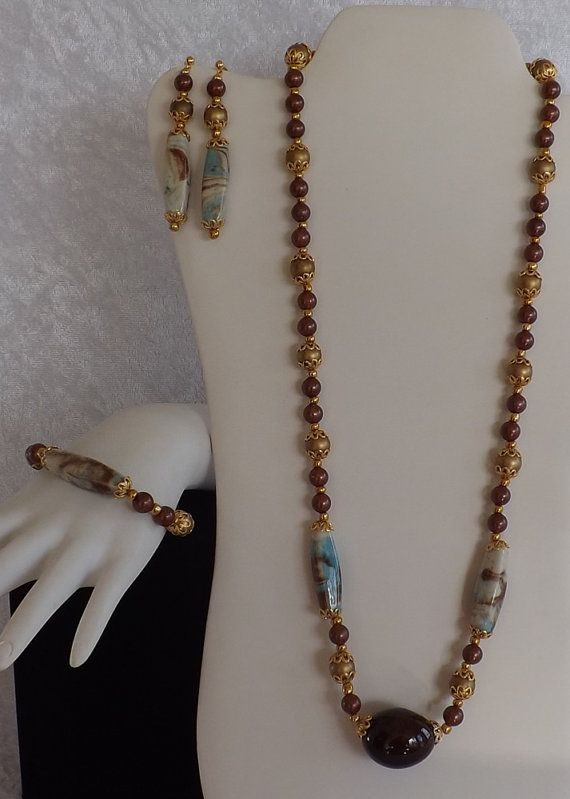 Handmade Gold Brown and Turquoise Beaded by JCAtticTreasures
