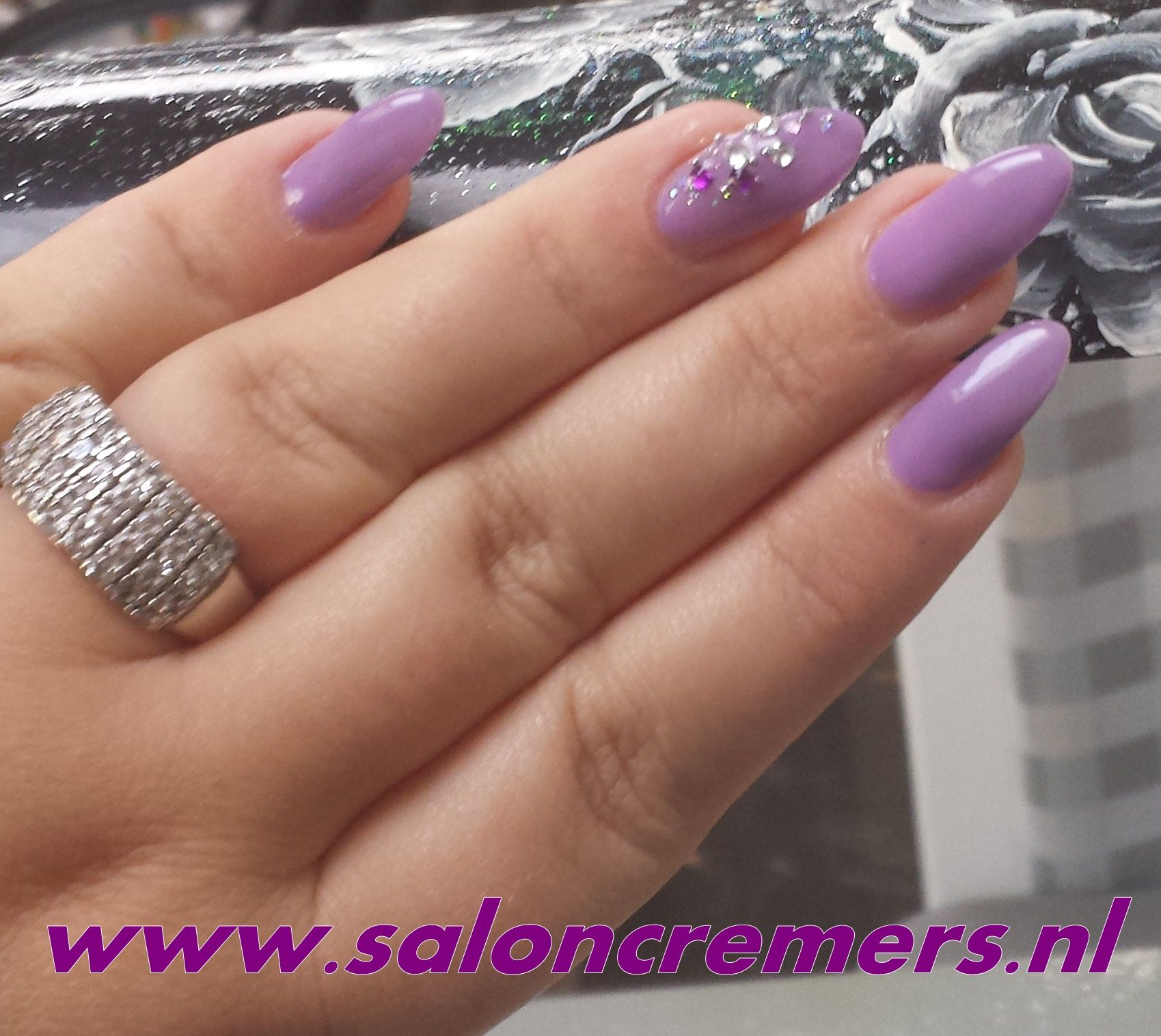 About baby boomer nail art tutorial by nded on pinterest nail art - Almond Shape Lila Nails With Strass Nail Art