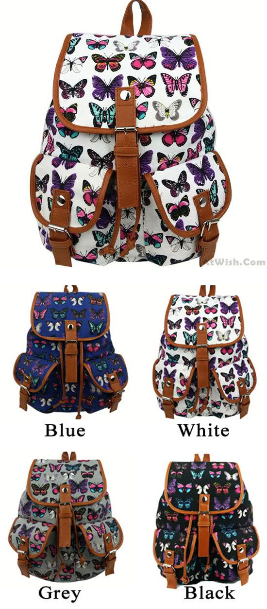 69615d460e3 Leisure Butterfly Print Women Rucksack Two Pockets College Bag Canvas  Backpack for big sale !  women  butterfly  backpack  Bag  school  college   girl ...
