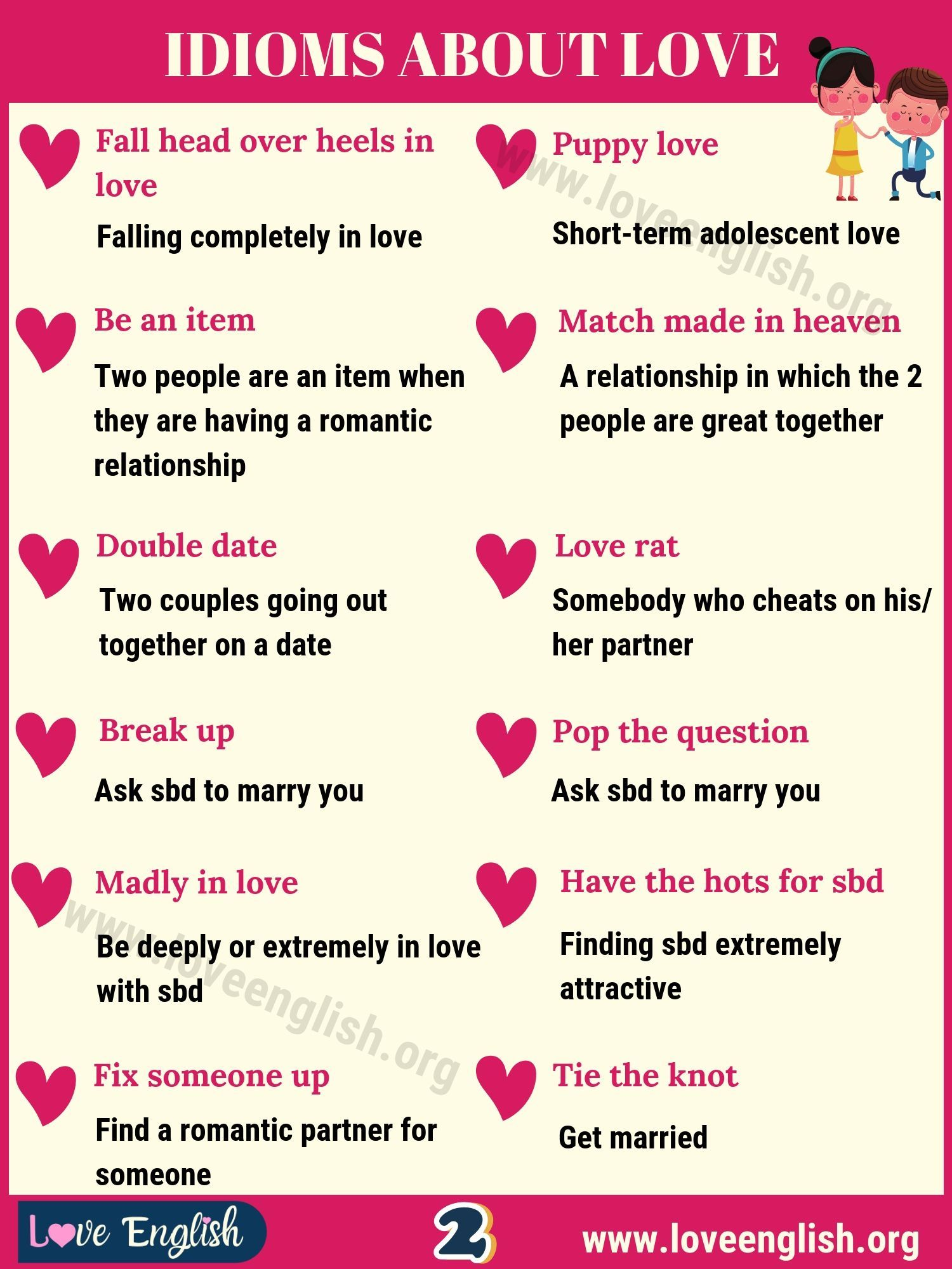 Love Idioms 32 Fantastic Idioms About Love In English Love English In 2021 Love Idioms English Idioms English Phrases Idioms