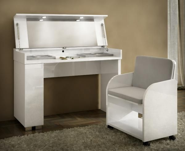 Caprice Modern Vanity Table In White High Gloss Finish With A