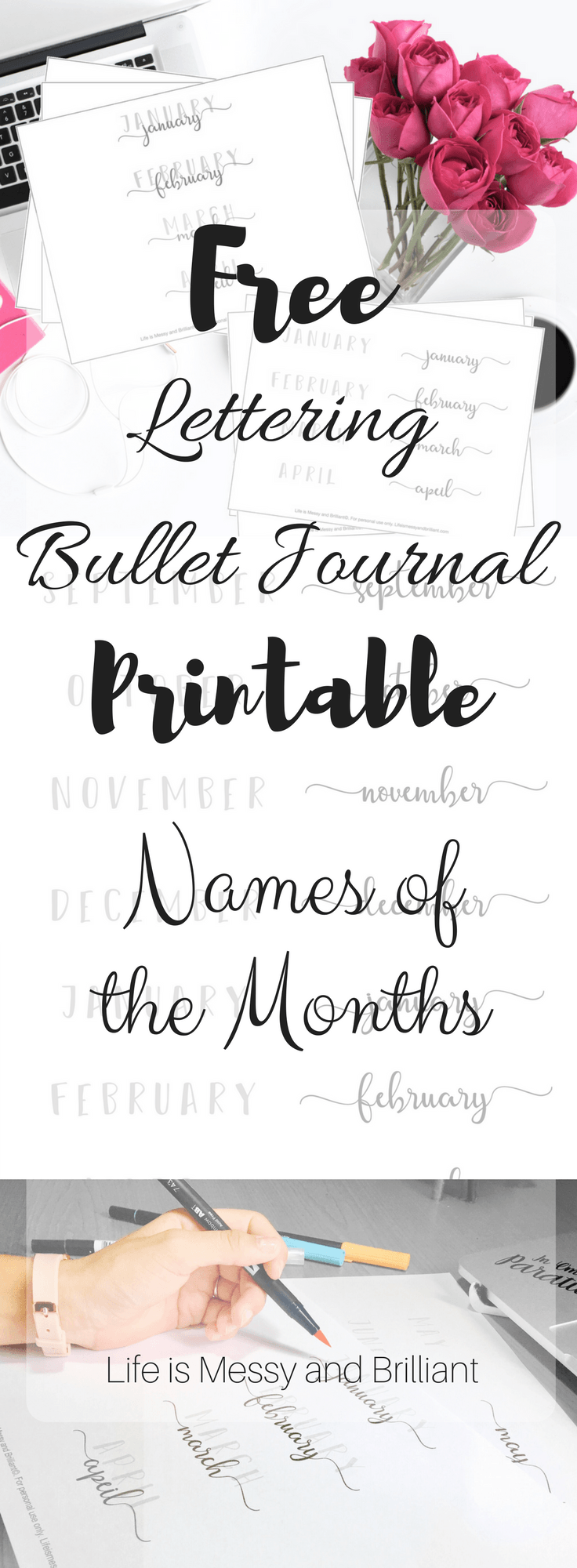 FREE Names of the Months Lettering Bullet Journal Printable
