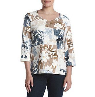 Alfred Dunner Petites' Classic Knit Pitch Floral Top