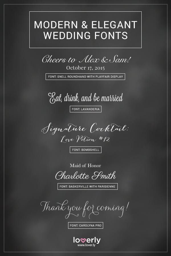 Modern And Elegant Fonts Used On Wedding Invitations